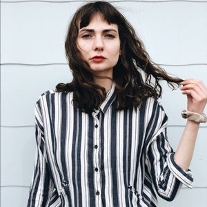 Bottom Down Blouse Stripes Zara
